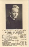 JOSEPH DE SAEGHER  - Deken - Pastoor -  Lichtervelde - Ieper - Izegem - Dottenys - Kortrijk - Veurne - Devotieprenten