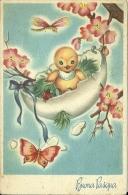 BUONA PASQUA  Pulcino Su Amaca A Forma Di Uovo Pesco Coccinella Libellula - Pasqua