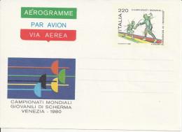 1980 Aerogramma Nuovo, Campionati Mondiali Giovanili Di Scherma, Venezia - Scherma