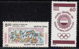 India MNH 1988, Set Of 2, Olympic Games, Sport, Cricket, Tennis, Chess, Boxing, Olympics, Hockey, Horse, Tennis Shooting - Neufs