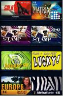 8 Verschiedene Prepaid Card Telefonkarten  -  Lucky!  -  2 X Stamp  - Afrikakarte  -  2 X Lycatel  -  Europe (6) - Telefonkarten