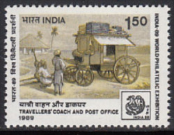 India MNH 1989, 1.50 'Travellers Coach', Transport, Philately, Stamp Exhibition 89, Postal History, - Neufs