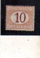 ITALIA REGNO  ITALY KINGDOM 1870 - 1874 SEGNATASSE POSTAGE DUE TASSE CENT. 10 MNH FIRMATO SIGNED - Postage Due