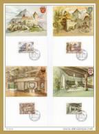 """LIECHTENSTEIN 1981 :  Lot 4 CM 1er Jour FDC YT 721 à 724 """" CHATEAU GUTENBERG"""" ( 26 ) + Prix Dégressif. - Castles"""