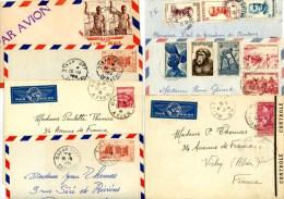 LOT DE 7 X LETTRE AVION TOUTES EX COLONIES    A ETUDIER - A.E.F. (1936-1958)