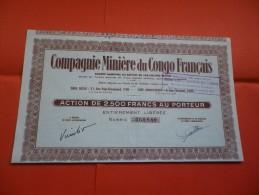 MINIERE DU CONGO FRANCAIS (2500 Francs) Capital 186 Millions - Actions & Titres
