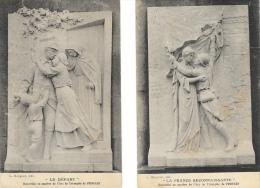 Lot De 2 CPA - Bas-relief En Marbre De L'Arc De Triomphe De Proyart - Le Départ - La France Reconnaissante - Monuments Aux Morts