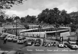 "01200 ""TORINO - VAL. - CAMPO GIOCHI GALL. MOSTRE"" ANIMATA, FIAT LANCIA ALFA´50/60, VESPA, AGIP. CART. POST. SPEDITA 1961 - Parcs & Jardins"