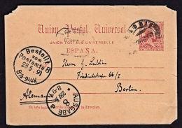 B0155 SPAIN 1891, Prepaid Card To Berlin - 1889-1931 Kingdom: Alphonse XIII