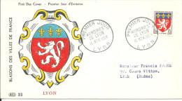 Armoiries 15 11 1958  Lyon - FDC