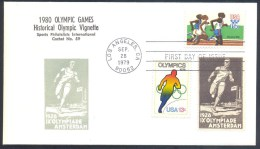 Olympic Games 1928 Cachet & Vignette; 1980 USA Olympic 15c Stamp; Athlettics Track And Field Running