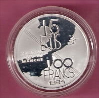 FRANKRIJK 100 FRANCS 1994 ZILVER PROOF TUNNEL LE MANCHE KM1060 SPOTS ONLY ON CAPSULE - France