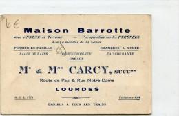 CARTE PUBLICITAIRE LOURDES MAISON BARROTTE ROUTE DE PAU ET NOTRE DAME - Advertising