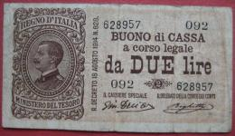 2 / Due Lire 1914 (WPM 37b) Ausg 1917 Serie 092 - Buoni Di Cassa