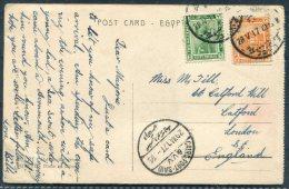 1917 Egypt Camel Postcard Alexandria Cairo TPO Cairo Port Said VV - Catford London GB