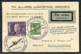 1928 Sweden GB Stockholm London 3rd/4th September Ovenight Flight Cover