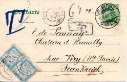 ALLEMAGNE. N°53 De 1900 Sur Carte Postale Ayant Circulé En 1903. + Timbres Taxe De France. - Briefe U. Dokumente