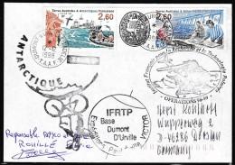 ANTARCTIC, TAAF, D´URVILLE, 12.12.1998, 3 Cachets + Signature, Look Scan !! 18.2-42 - Antarctic Expeditions