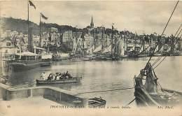 TROUVILLE-SUR-MER. LA CITTADINA E IL PORTO CON L'ALTA MAREA. SUGGESTIVA CARTOLINA DEL 1917 - Trouville