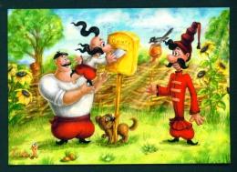 UKRAINE  -  Cartoon  Cossacks Send Postcards  Used Postcard As Scans - Ukraine