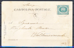 San Marino Storia Postale 1877 Cartolina Affrancata Con N. 1 C. 5 Verde - Lettres & Documents