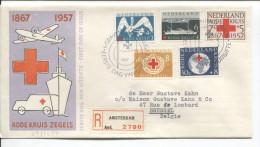 Nederland FDC Aangetekende Brief Rode Kruis Zegels  C.Amsterdam 1957 V.Brussel PR1707 - FDC