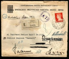 1942 STORIA POSTALE  Lettera Vg Da Siena Per Palermo - Storia Postale