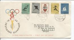 Nederland FDC Brief Zestiende Olympiade Zegels  C.Amsterdam 1956 V.Brussel PR1710 - Verano 1956: Melbourne