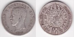 SUEDE SWEDEN SVERIGE : 1 KRONA 1915 Argent  (voir Scan) - Svezia
