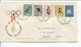 Nederland FDC Brief Zestiende Olympiade Zegels  C.s´Gravenhagen 1956 V.Brussel PR1711 - Verano 1956: Melbourne