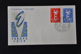 1 ++ BELGIUM FDC 1958 OBP Serie 1064-65 EUROPA - FDC