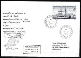 ANTARCTIC, TAAF, D´URVILLE, 13.12.2001, 2 Cachets, HELICOPTER-Flight With Sign Pilot, Look Scan !! 18.2-38 - Antarctische Expedities
