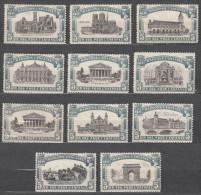 France Labels, Famous Buildinges Architecture, 11 Diff. Labels - Commemorative Labels