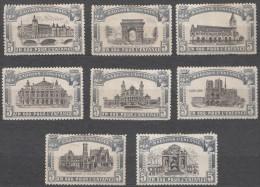 France Labels, Famous Buildinges Architecture, 8 Diff. Labels - Commemorative Labels
