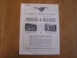 CHENARD & WALCKER Grand Prix 1927 24 Heures Belgique  Automobiles Auto Voiture Automobile Publicité Originale Années 30 - Publicités