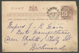Victoria  1899   1p Postal Card    Prahran Cancel - 1850-1912 Victoria