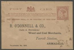 Victoria  1887   1p Postal Card    Addressed No Cancel - 1850-1912 Victoria