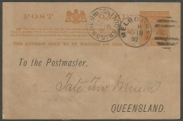 Victoria  1892 1p Victoria Post Card  Addressed Melbourne Cancel. - 1850-1912 Victoria
