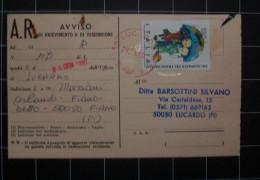 """Italia Repubblica Anno1980 Ricevuta Di Ritorno """" Xxi Giornata Del Francobollo  £120 """" - 1971-80: Storia Postale"""