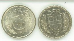 5 FRANCHI SVIZZERI ARGENTO DUE MONETE DEL 1932 E DEL 1969 CONDIZIONI SPL - Svizzera