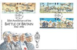 FDC 50ème Anniversairede La Bataille D'Angleterre Avion Aviation Chasseurs Soldats Militaire 2ème Guerre Mondiale - Man (Ile De)
