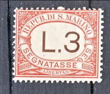 San Marino Tasse 1897-1919 N. 7 Lire 3 Rosa MNH - Segnatasse