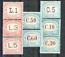 San Marino Tasse 1897-1919 Colori Verde E Rosa, Serietta N. 1 - 8 MNH - Segnatasse