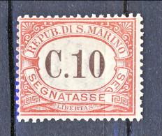 San Marino Tasse 1924 Colori Carminio E Verde N. 11 C. 10 Carminio MNH - Segnatasse
