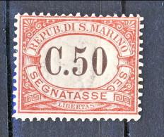 San Marino Tasse 1924 Colori Carminio E Verde N. 13 C. 50 Carminio MNH - Segnatasse