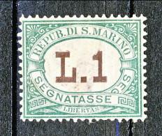 San Marino Tasse 1924 Colori Carminio E Verde N. 15 Lire 1 Verde Ben Centrato MNH - Segnatasse
