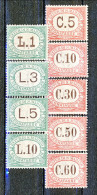 San Marino Tasse 1924 Colori Carminio E Verde Serie N. 10 - 18 MH - Segnatasse