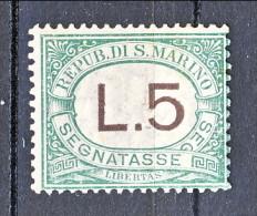 San Marino Tasse 1924 Colori Carminio E Verde N. 17 Lire 5 Verde MNH - Segnatasse
