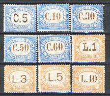San Marino Tasse 1925 Colori Azzurro E Arancio Serie N. 19 - 27 MNH - Segnatasse