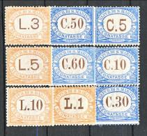 San Marino Tasse 1925 Colori Azzurro E Arancio Serie N. 19 - 27 MH - Segnatasse